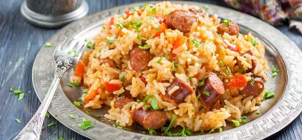 Sundried tomato and chorizo rice on silver platter